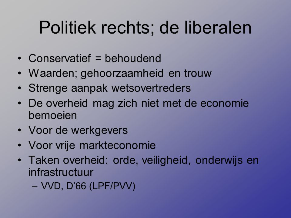 Politiek rechts; de liberalen