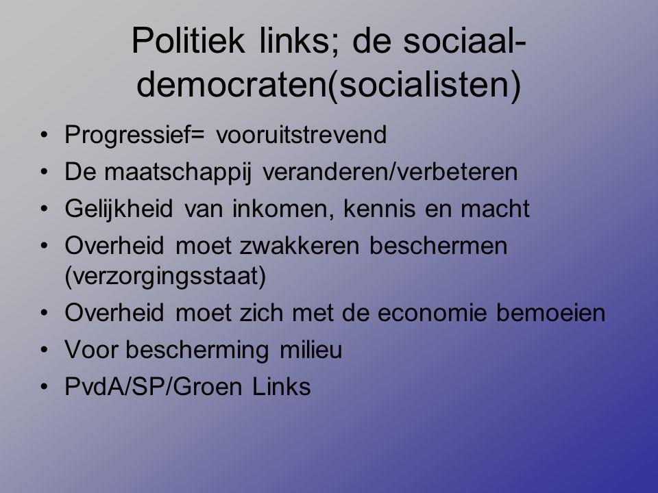 Politiek links; de sociaal-democraten(socialisten)