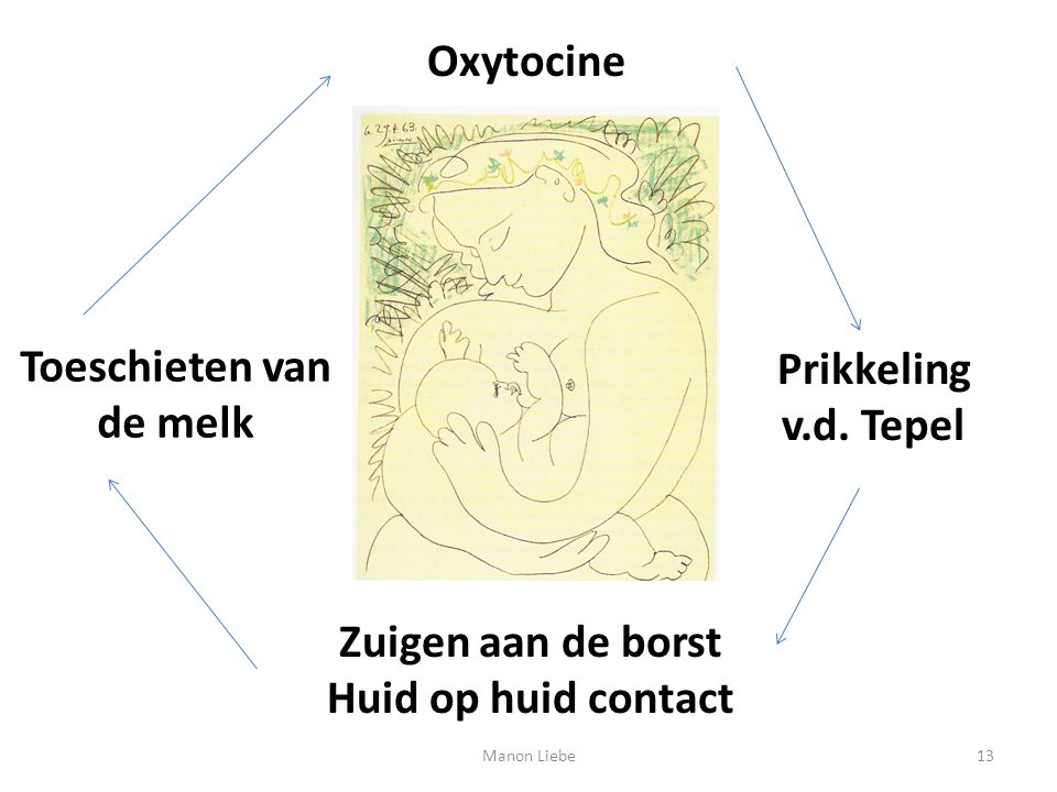Toeschieten van de melk Zuigen aan de borst Huid op huid contact