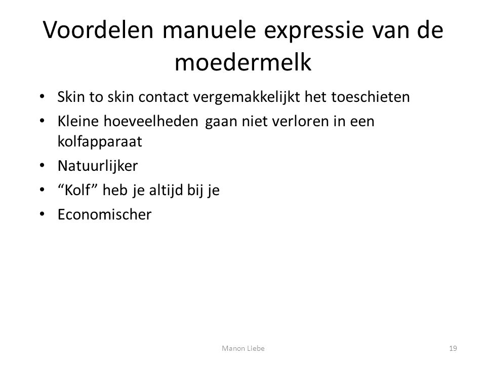 Voordelen manuele expressie van de moedermelk