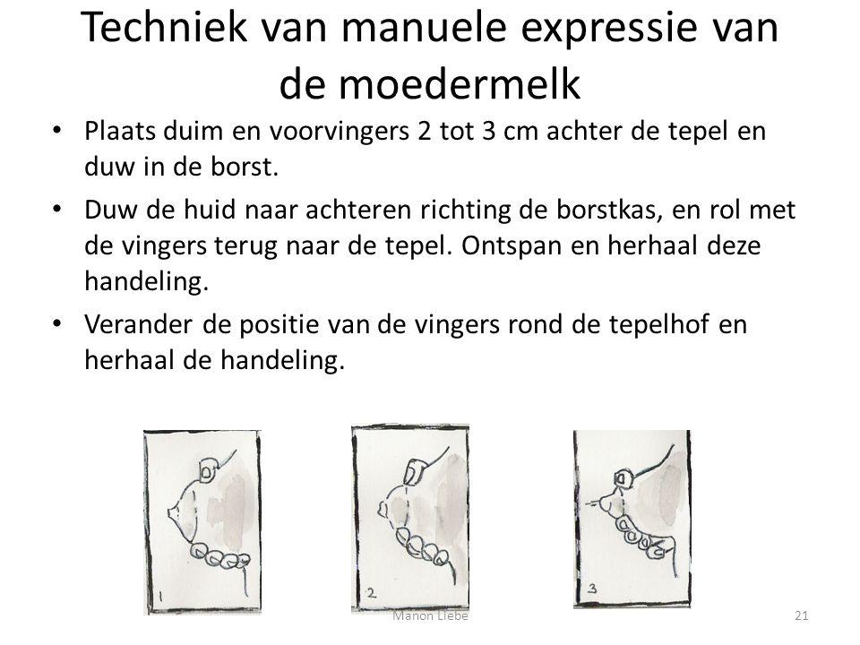Techniek van manuele expressie van de moedermelk