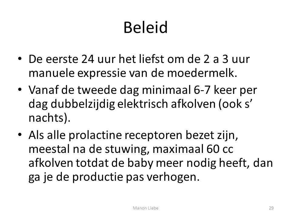 Beleid De eerste 24 uur het liefst om de 2 a 3 uur manuele expressie van de moedermelk.
