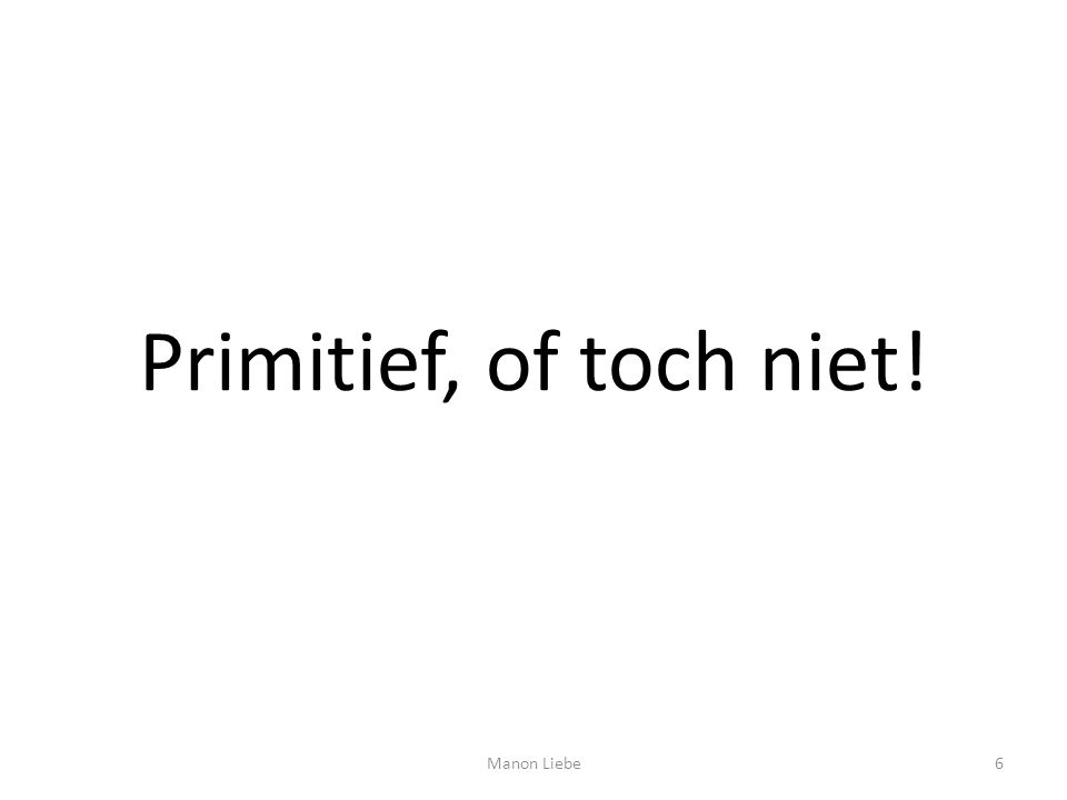 Primitief, of toch niet! Manon Liebe
