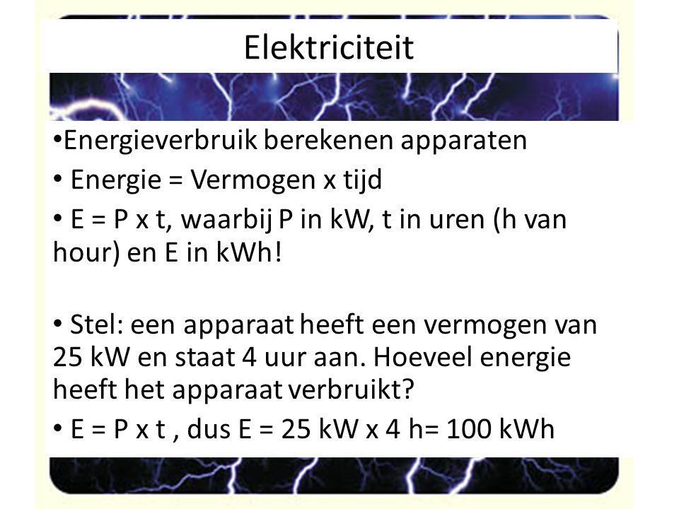 Elektriciteit Energieverbruik berekenen apparaten