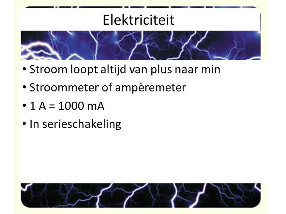 Elektriciteit Stroom loopt altijd van plus naar min