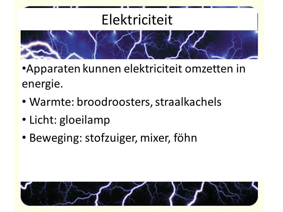 Elektriciteit Apparaten kunnen elektriciteit omzetten in energie.