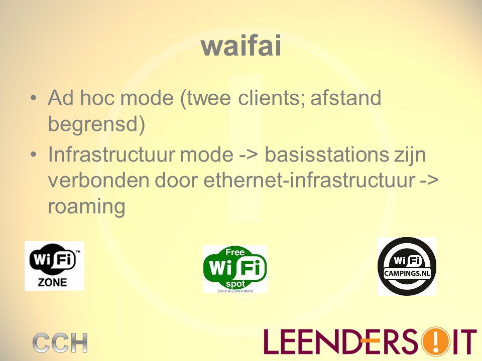waifai Ad hoc mode (twee clients; afstand begrensd)