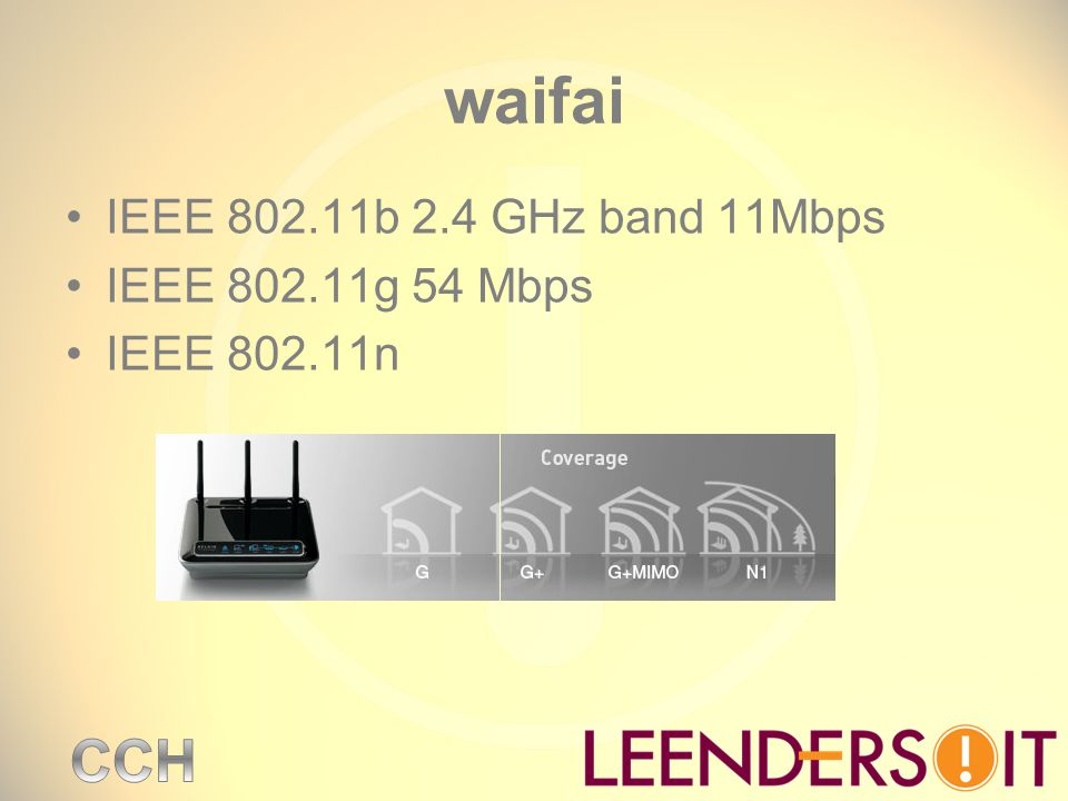 waifai IEEE b 2.4 GHz band 11Mbps IEEE g 54 Mbps