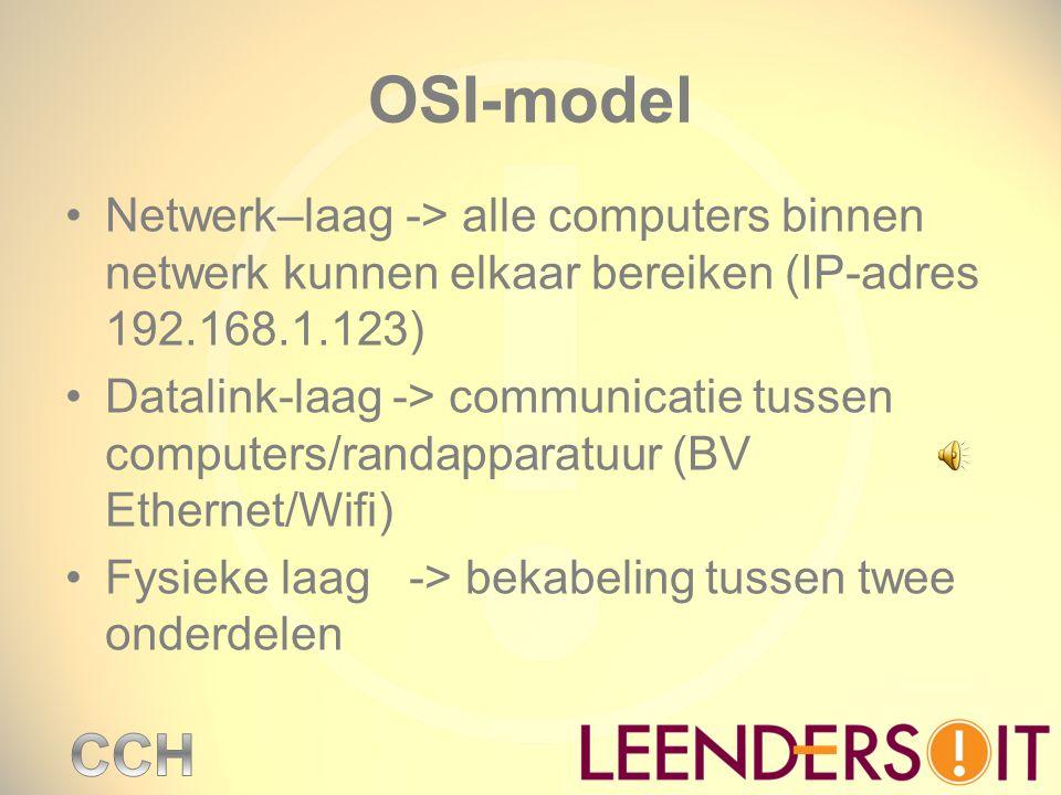 OSI-model Netwerk–laag -> alle computers binnen netwerk kunnen elkaar bereiken (IP-adres 192.168.1.123)