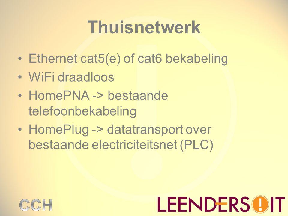 Thuisnetwerk Ethernet cat5(e) of cat6 bekabeling WiFi draadloos