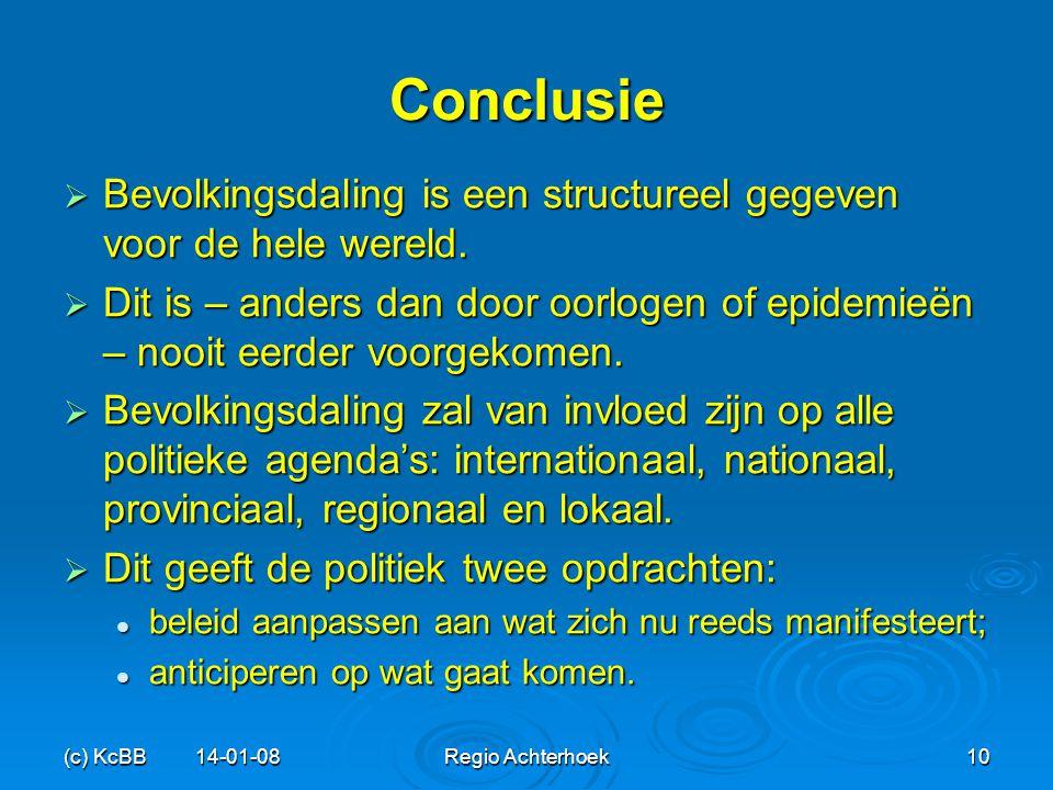 Conclusie Bevolkingsdaling is een structureel gegeven voor de hele wereld.
