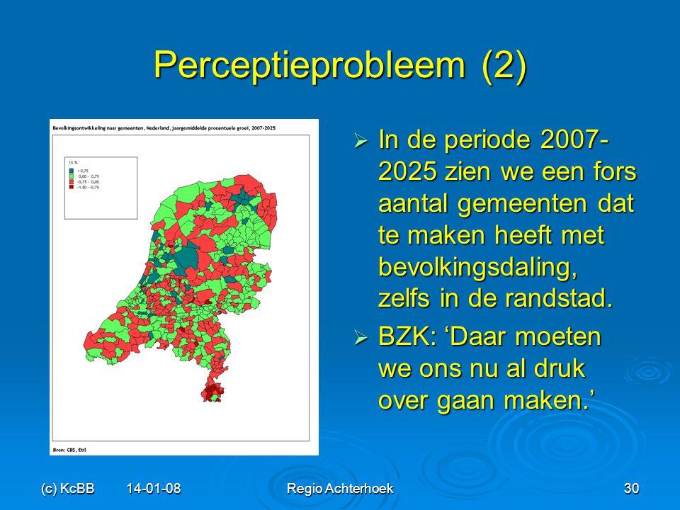 Perceptieprobleem (2) In de periode 2007-2025 zien we een fors aantal gemeenten dat te maken heeft met bevolkingsdaling, zelfs in de randstad.