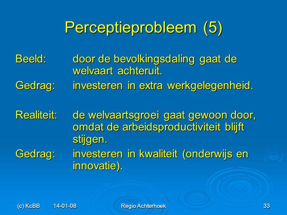 Perceptieprobleem (5) Beeld: door de bevolkingsdaling gaat de welvaart achteruit. Gedrag: investeren in extra werkgelegenheid.