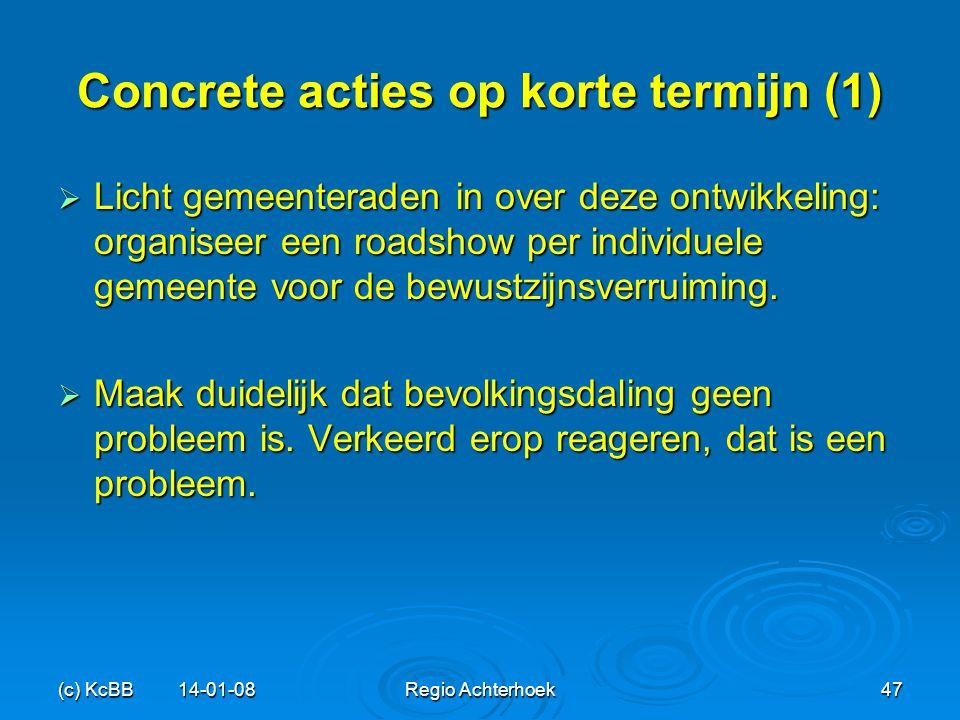 Concrete acties op korte termijn (1)