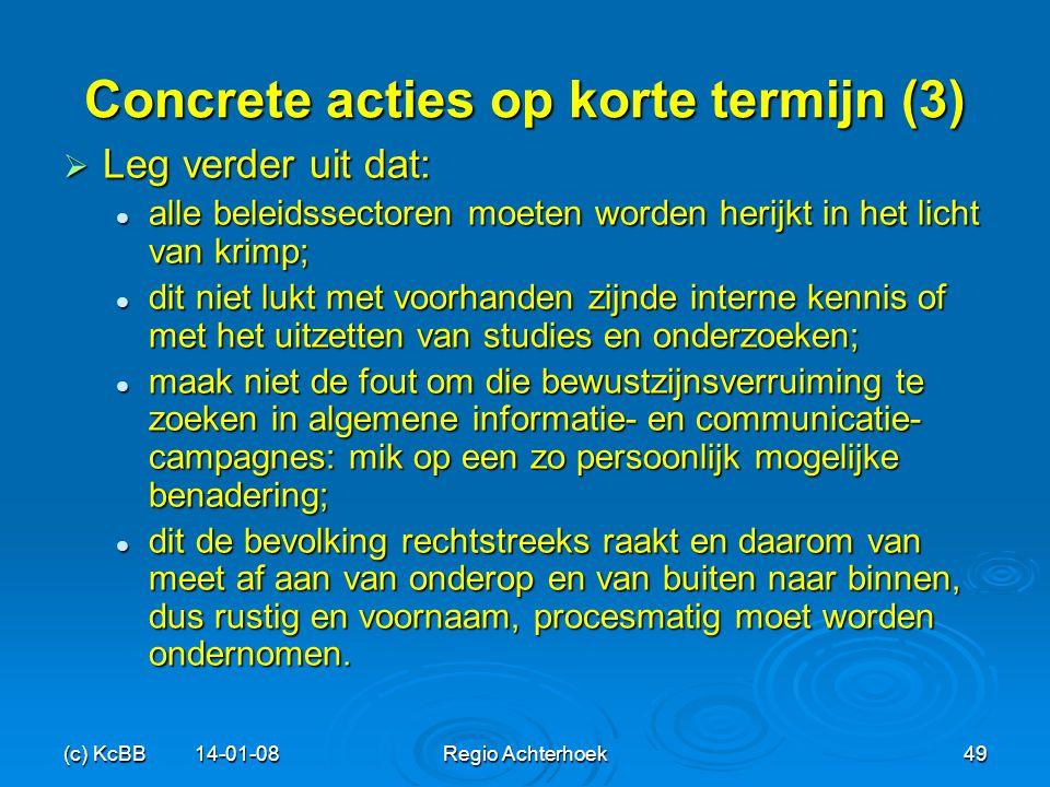 Concrete acties op korte termijn (3)