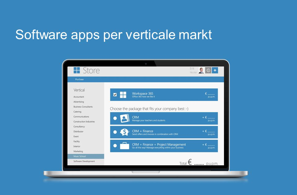 Software apps per verticale markt