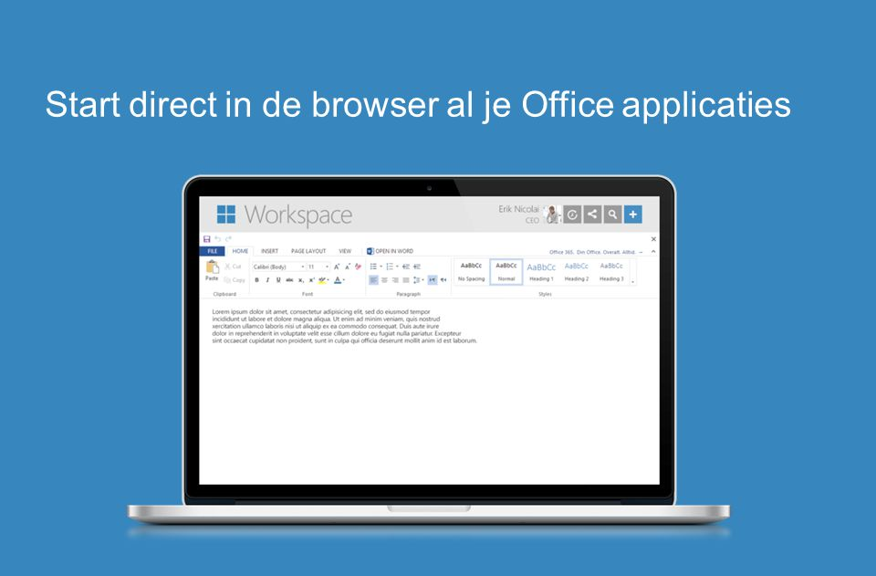 Start direct in de browser al je Office applicaties