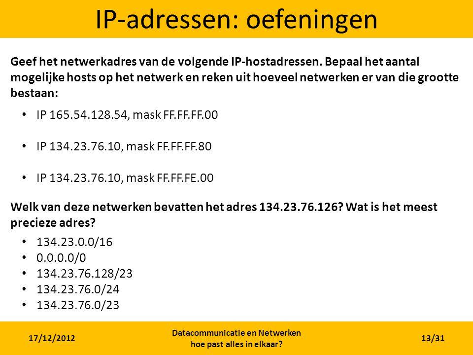 IP-adressen: oefeningen