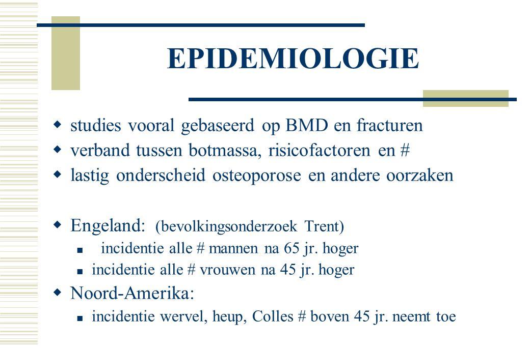 EPIDEMIOLOGIE studies vooral gebaseerd op BMD en fracturen