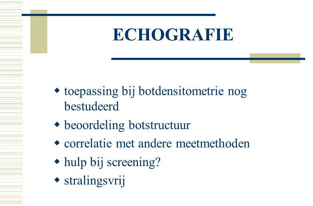 ECHOGRAFIE toepassing bij botdensitometrie nog bestudeerd