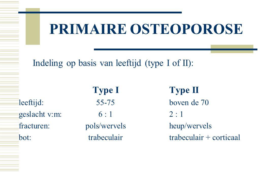 PRIMAIRE OSTEOPOROSE Indeling op basis van leeftijd (type I of II):