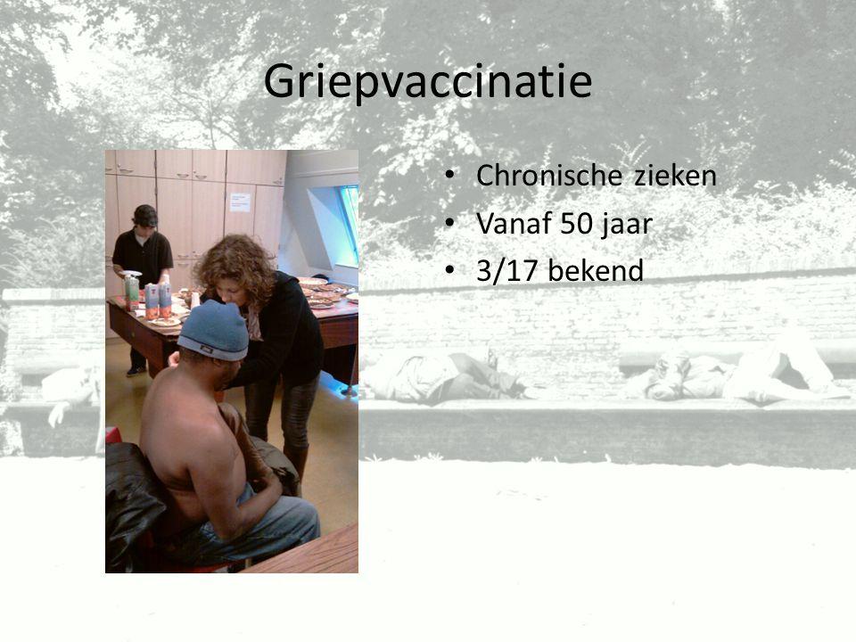 Griepvaccinatie Chronische zieken Vanaf 50 jaar 3/17 bekend