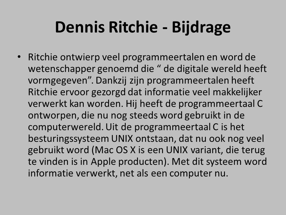 Dennis Ritchie - Bijdrage