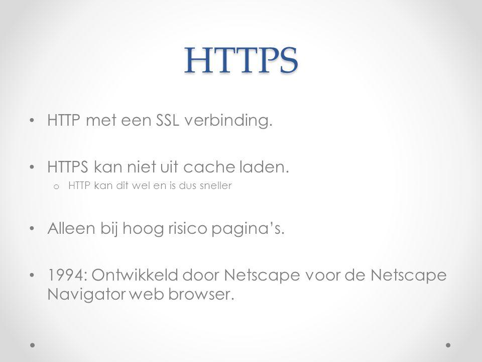 HTTPS HTTP met een SSL verbinding. HTTPS kan niet uit cache laden.