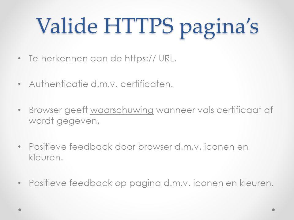 Valide HTTPS pagina's Te herkennen aan de https:// URL.
