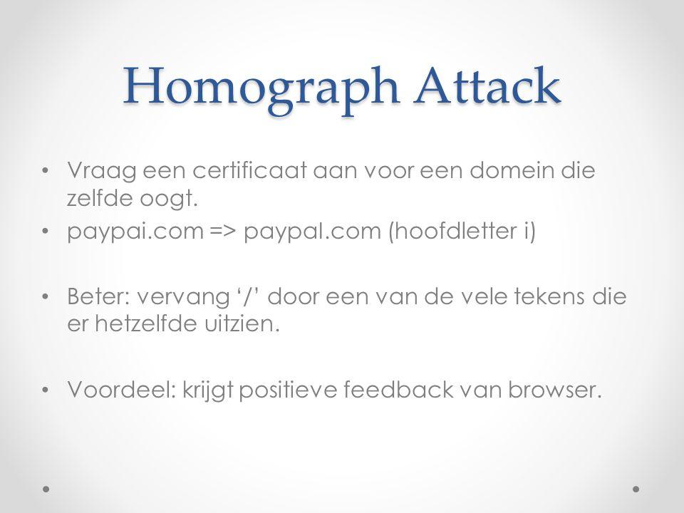 Homograph Attack Vraag een certificaat aan voor een domein die zelfde oogt. paypai.com => paypaI.com (hoofdletter i)