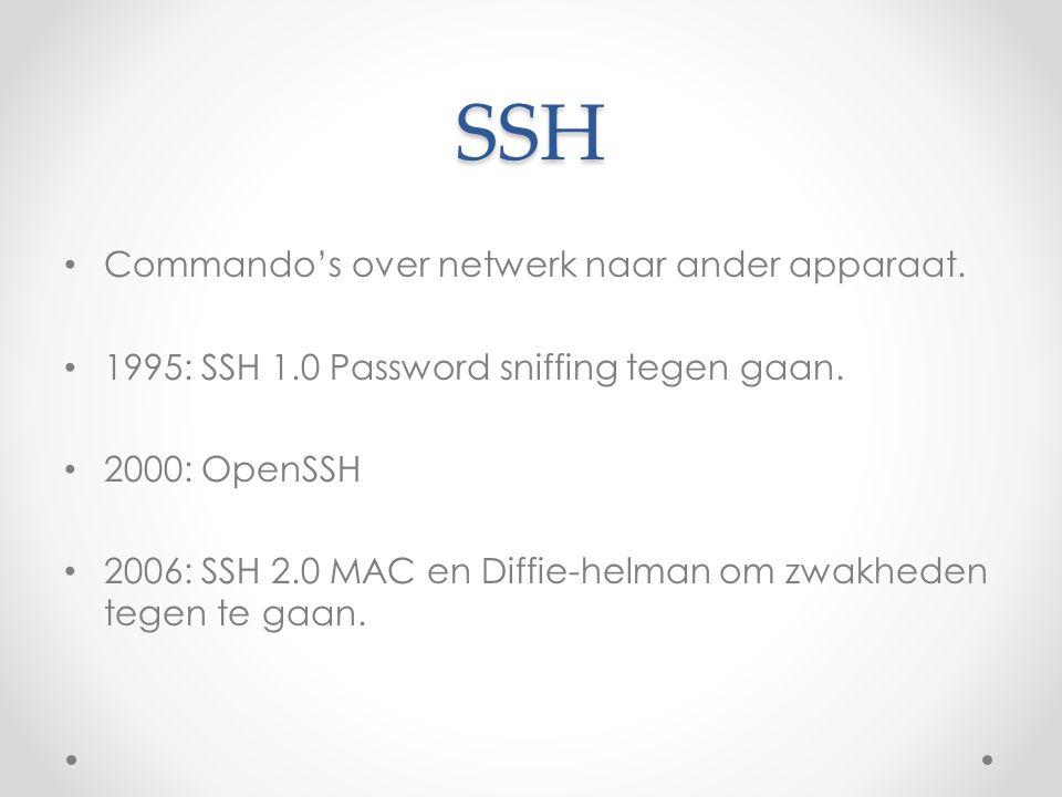 SSH Commando's over netwerk naar ander apparaat.