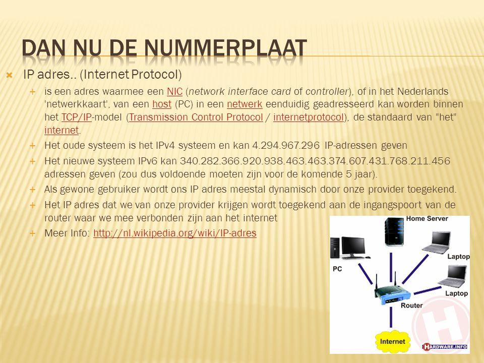 Dan nu de nummerplaat IP adres.. (Internet Protocol)