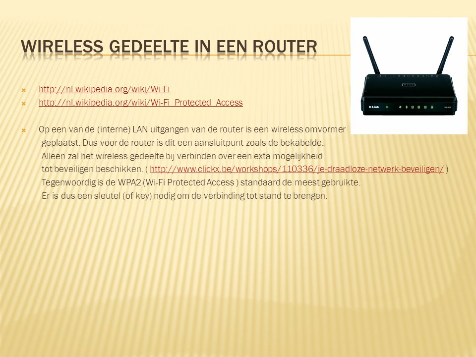 Wireless gedeelte in een router