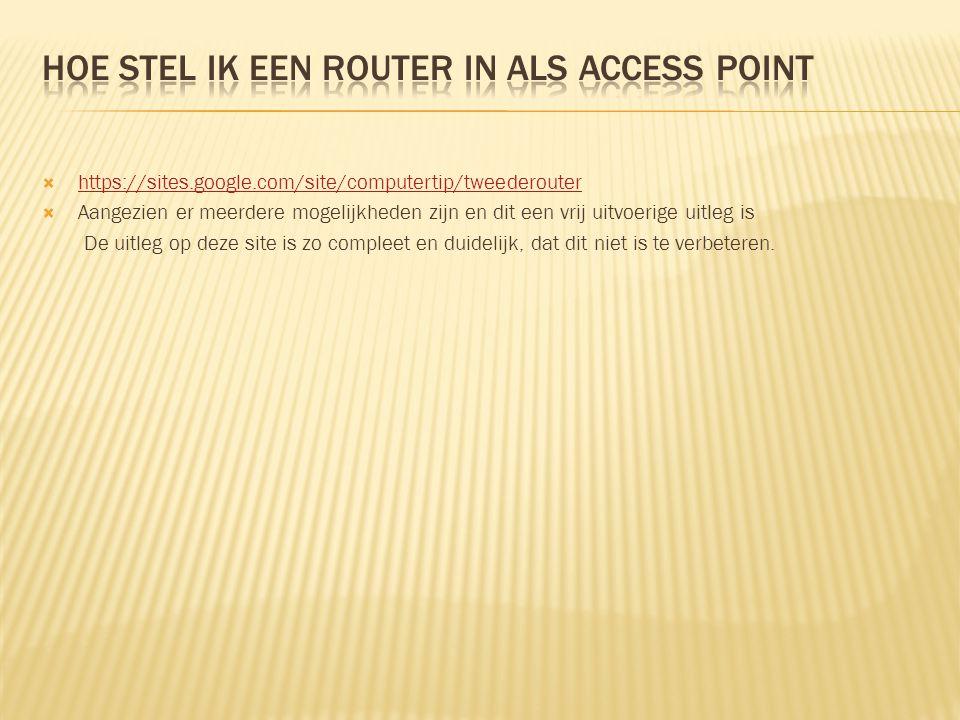 Hoe stel ik een router in als access point