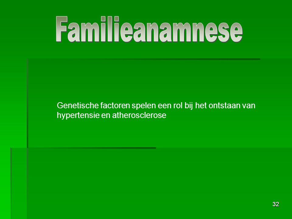 Familieanamnese Genetische factoren spelen een rol bij het ontstaan van hypertensie en atherosclerose.
