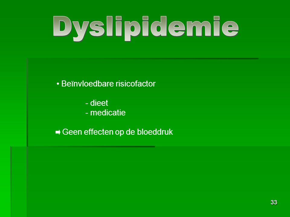 Dyslipidemie Beïnvloedbare risicofactor - dieet - medicatie