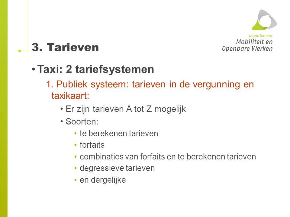 3. Tarieven Taxi: 2 tariefsystemen