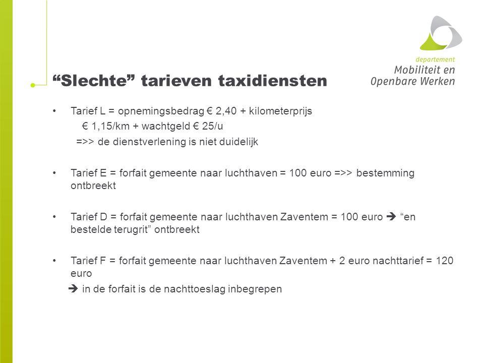 Slechte tarieven taxidiensten