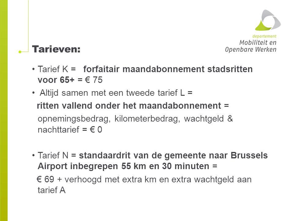 Tarieven: Tarief K = forfaitair maandabonnement stadsritten voor 65+ = € 75. Altijd samen met een tweede tarief L =