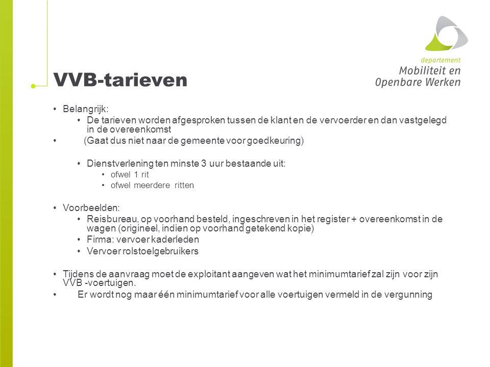 VVB-tarieven Belangrijk:
