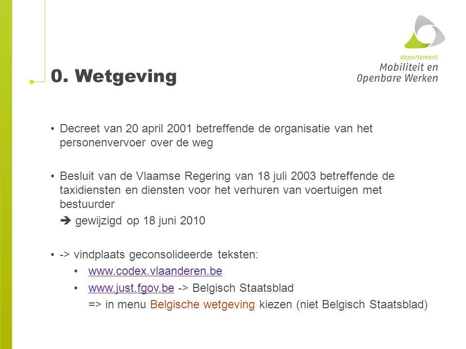 0. Wetgeving Decreet van 20 april 2001 betreffende de organisatie van het personenvervoer over de weg.