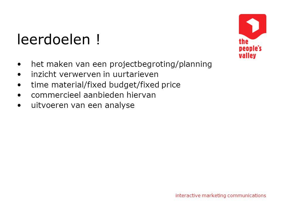 leerdoelen ! het maken van een projectbegroting/planning