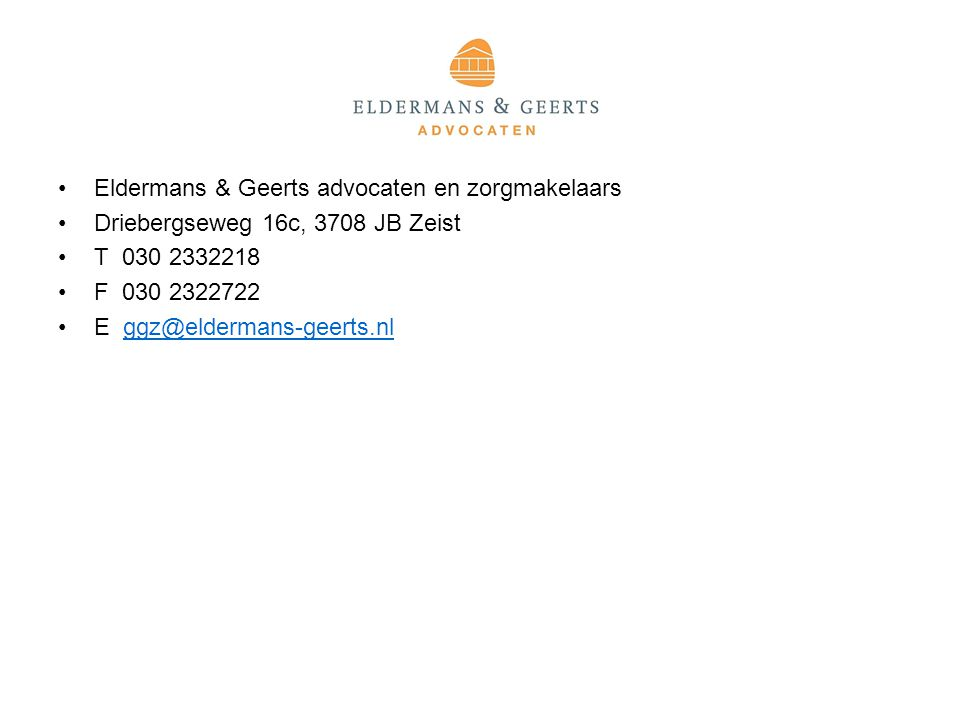 Eldermans & Geerts advocaten en zorgmakelaars