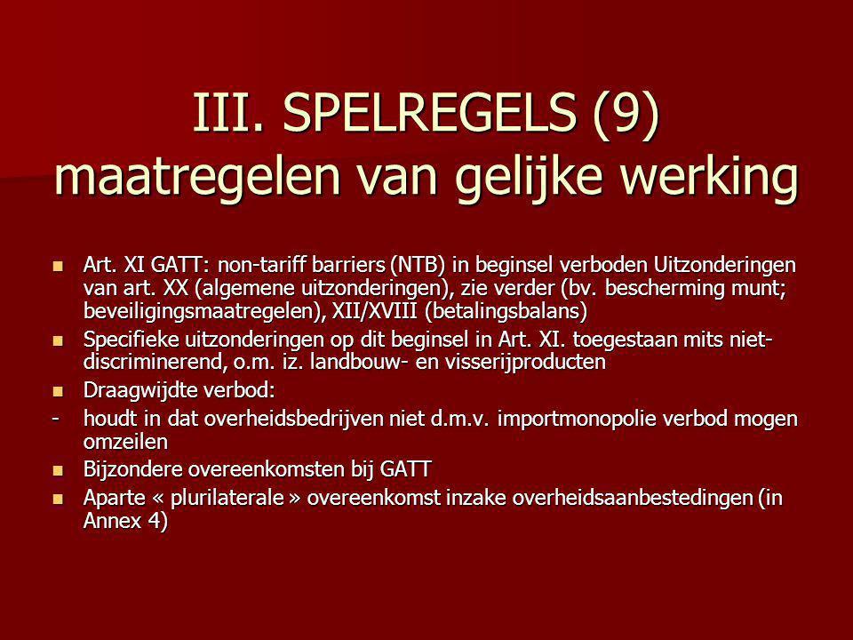 III. SPELREGELS (9) maatregelen van gelijke werking