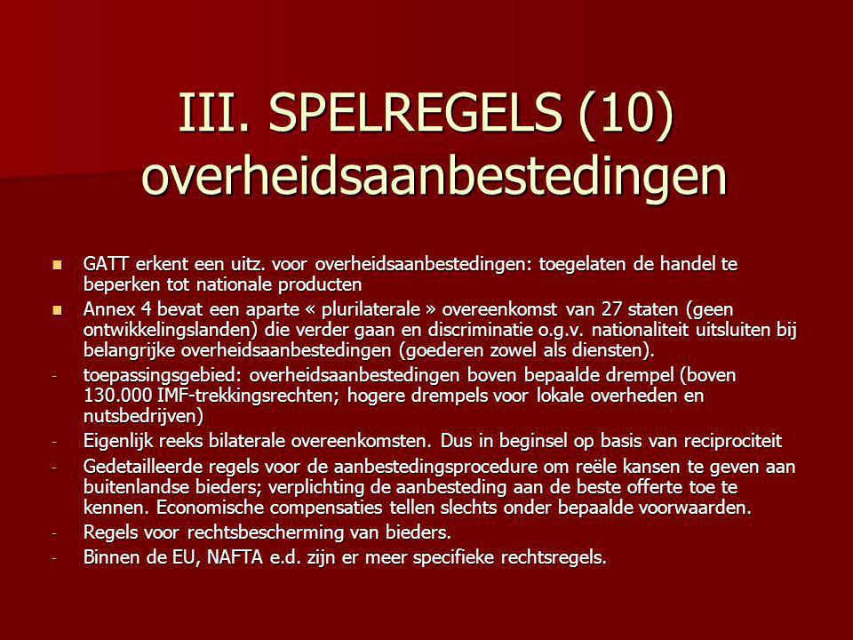 III. SPELREGELS (10) overheidsaanbestedingen