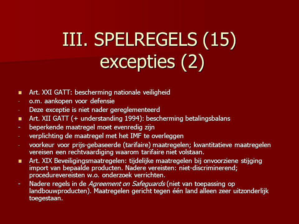 III. SPELREGELS (15) excepties (2)