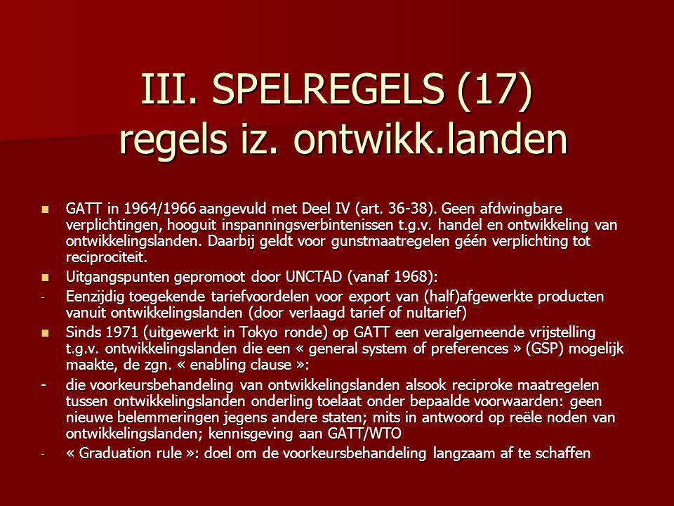 III. SPELREGELS (17) regels iz. ontwikk.landen