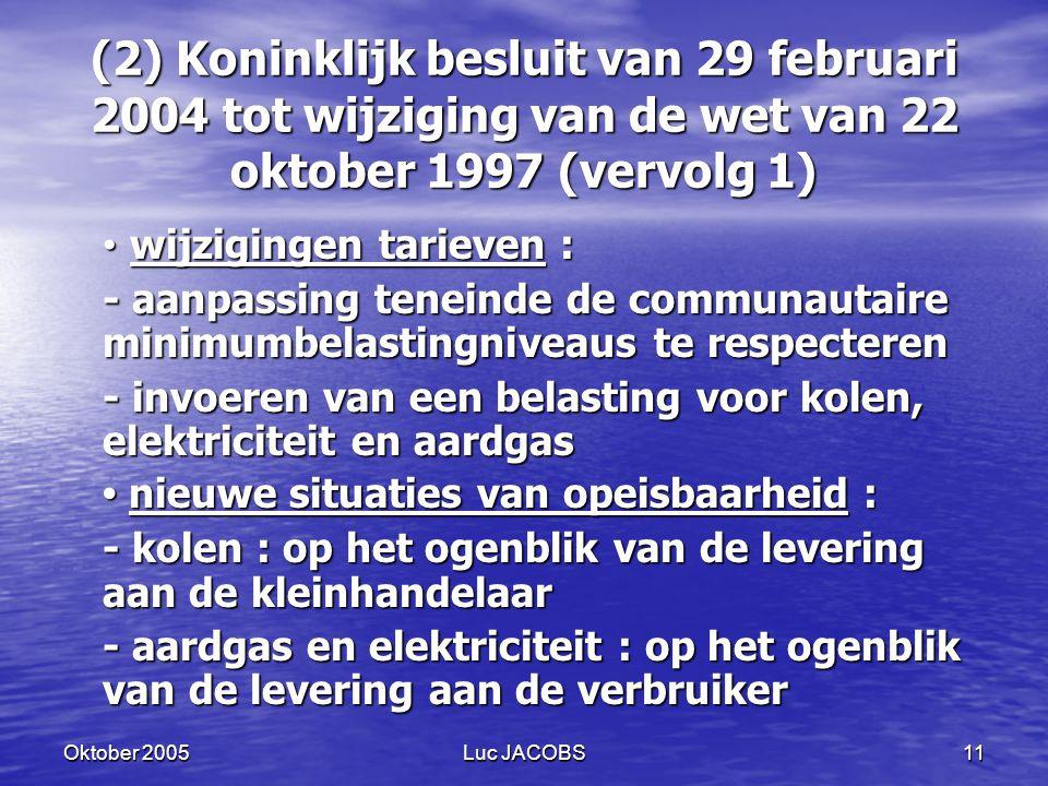(2) Koninklijk besluit van 29 februari 2004 tot wijziging van de wet van 22 oktober 1997 (vervolg 1)
