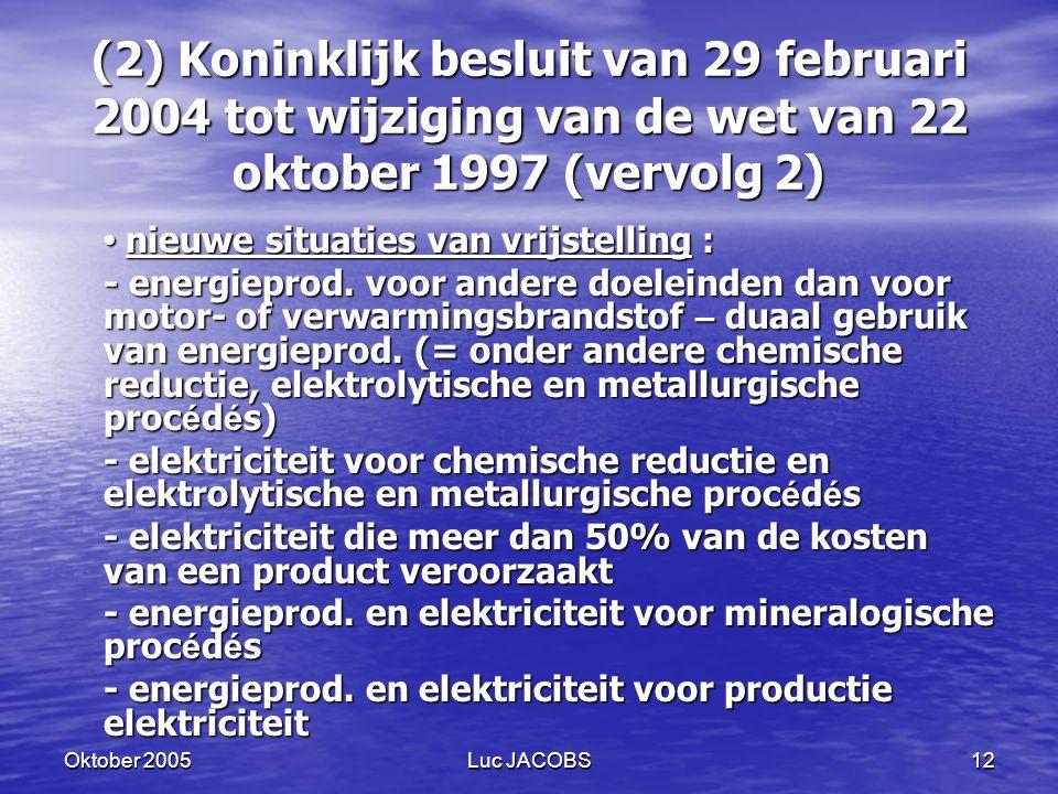 (2) Koninklijk besluit van 29 februari 2004 tot wijziging van de wet van 22 oktober 1997 (vervolg 2)