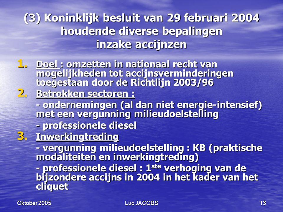 (3) Koninklijk besluit van 29 februari 2004 houdende diverse bepalingen inzake accijnzen